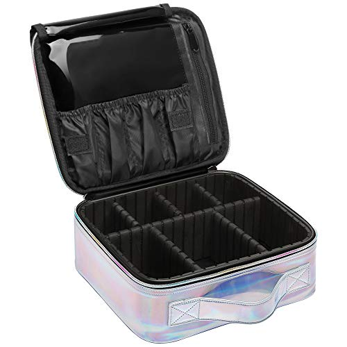 Makeup Case, Packism Holographic Travel Makeup Bag Professional Cosmetic Train Case, Waterproof Cosmetic Bag
