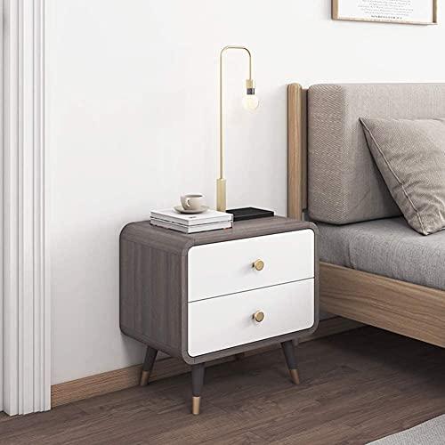 yxx Mesa de Noche con 2 cajones Mesa de Consola, Mesa de Extremo Moderno, Mesa Auxiliar, gabinete de Almacenamiento, Dormitorio del Hotel Muebles de Dormitorio (Color : Grey)