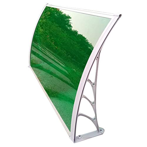 LICHUN Sun Shade Window Awning, No Noise Waterproof Outdoor Door Canopy UV Protection For Home, Porch Canopies, Gray Bracket (Color : Green, Size : 80X120CM)