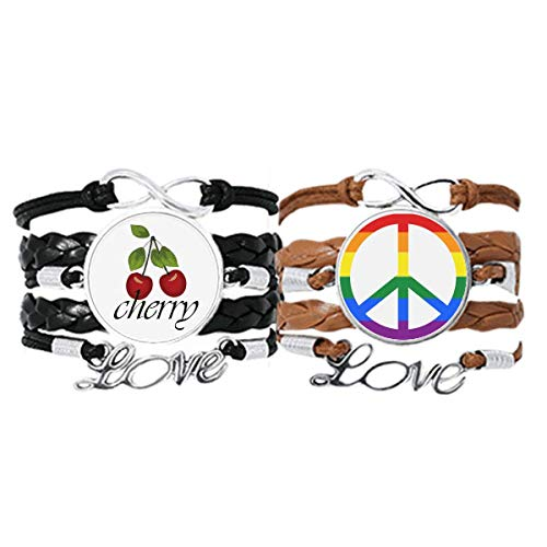 Bestchong Rainbow Gay Lesbian Anti war LGBT Bracelet Hand Strap Leather Rope Cherry Love Wristband Double Set