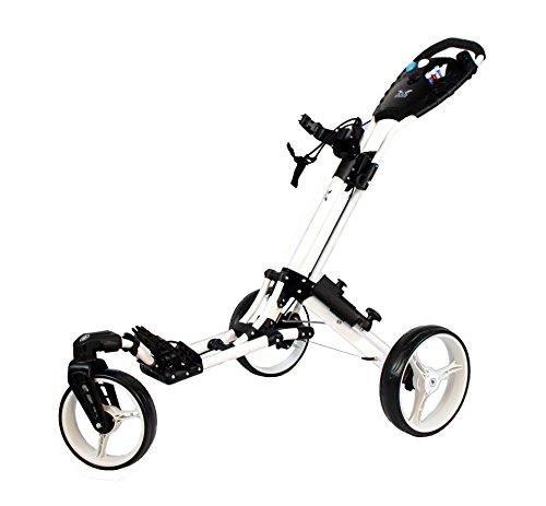 """Golftrolley Yorrx® SL Pro 7 HAMMA """"PLUS"""" Ausstattung, Golfwagen mit innovativem 360° SPIN Vorderrad (weiß) inkl. orig. Yorrx Golfhandtuch & Tees … - 2"""
