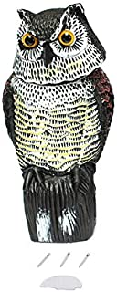 Realistic Owl Decoy with Rotating Head Garden Protection Repellent Bird Pest Scarer Scarecrow Hunting Decoys for Hunter