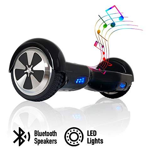 "ACBK - Patinete Eléctrico Hover Autoequilibrio con Ruedas de 6.5"" (Altavoces Bluetooth + Luces Led integradas) Velocidad máxima: 10-12 km/h - Autonomía 10-20 km (Negro)"