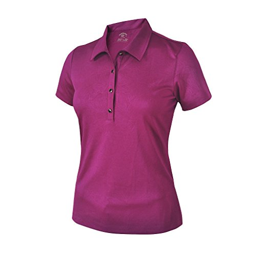 Monterey Club Women's Floral Emboss Texture Polo Shirt #2096 (Mulberry, Large)
