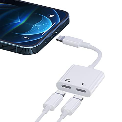 Adaptador de Auriculares para iPhone 12 [Certificado MFi] Convertidor de Adaptador de Conector Lightning Dual de Audio AUX [Audio + Llamada + Control de Volumen] Compatible para iPhone 11/X/XR/XS/8/7