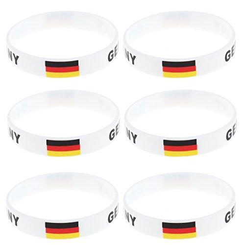 LUOEM Land Silikon Armband 2018 WM Deutschland Fußball Armband für Russland 2018 FIFA WM-Party 6 STÜCKE (Deutschland)