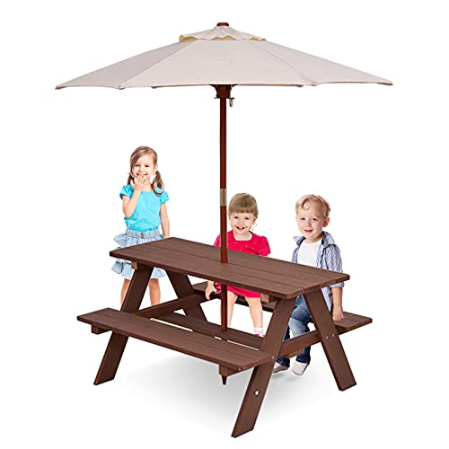 GYMAX Kids Picnic Table Bench, Wooden Garden Table Set with Removable Umbrella, Child Outdoor BBQ Furniture Set (Brown)