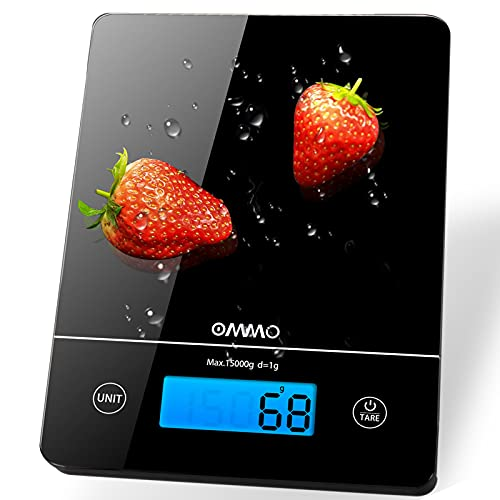 OMMO Küchenwaage, 15kg Digitalwaage mit Tara-Funktion & LCD-Display Hochpräzise/Haushaltswaage/Lebensmittelwaage/Essenswaage für Backen Kochen usw, inkl. Batterien wasserdicht Küchenwerkzeug