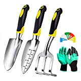 Garden Tool Set, 5 Pcs Heavy Duty Gardening Tools Kit with Soft Rubberized Non-Slip Handle, Includes Hand Trowel, Transplant Trowel, Cultivator Hand Rake,Plant Tags, Garden Digger Gloves