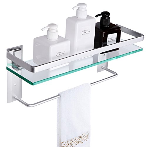 Vdomus Tempered Glass Bathroom Shelf with Towel bar Wall Mounted Shower Storage 15.2 by 4.5 inches, Brushed Silver Finish (Silver)
