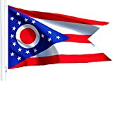 G128 Ohio State Flag 150D Quality Polyester 3x5 ft Printed Brass Grommets Flag Indoor/Outdoor - Much Thicker More Durable Than 100D 75D Polyester