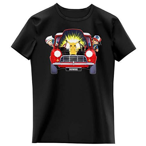 Okiwoki T-Shirt Enfant Fille Noir Parodie Pokémon - Pikachu, Sasha et Aurore - Pika dépannage (T-Shirt Enfant de qualité Premium de Taille 4 Ans - imprimé en France)