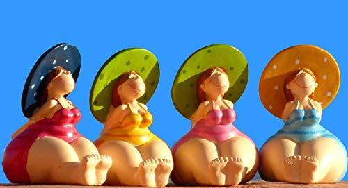 Pommerntraum ®| 4-ER Set | Crazy Sisters - 4 Dicke Maritime Badenixen - 4 Dicke Nanas - 4 Dicke Ladies mit grossem Hut - Dekofiguren