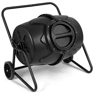 Goplus Compost Tumbler Outdoor Garden Waste Bin Grass Food Trash Fertilizer Barrel Black