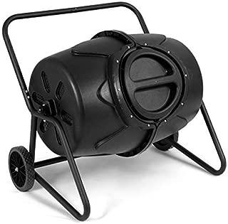 Goplus Compost Tumbler Outdoor Garden Waste Bin Grass Food Trash Fertilizer Barrel Black (45-Gallon with Wheels)