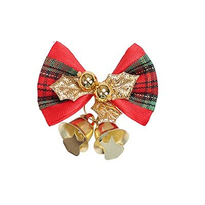 baidicheng 5 unids/lote de 5 cm Mini arco decoración de árbol de Navidad corona decoración oro rojo verde lazo nudo Navidad (color: D)