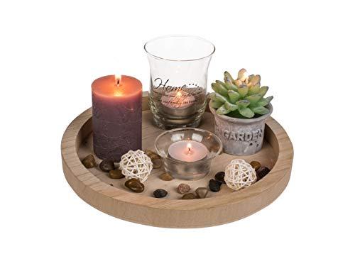 mucplants Naturfarbener Deko-Teelichthalter rund ca. 23cm mit 2 Glas-Teelichthaltern, 2 Teelichter, 2 Kerzen & Dekosteine
