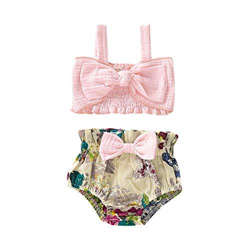 Julhold Combinaison sans Manches en Coton pour bébé + Short Floral 0-2 Ans - Rose - 3-6 Mois