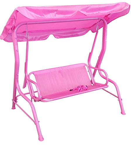 Fornord Childrens Outdoor Indoor Swing Chair Hammock Canopy Two Seater Kids Swing Pink