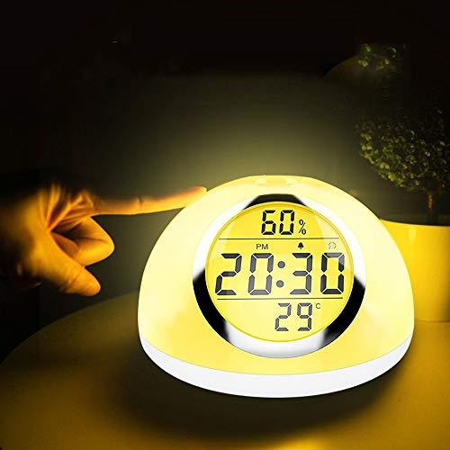 De enige goede kwaliteit Decoratie Moderne Minimalistische LED Smart Hand-sensing Touch Wekker Licht Zeven Kleuren Tijd Temperatuur Vochtigheid Alarm Klok Display USB Opladen Bureau Lamp Nachtlampje Villa