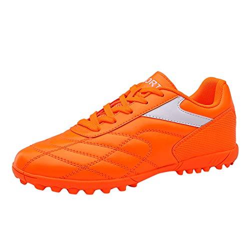 BRISEZZ Männer Frauen Mode High-Top Fußballschuhe Outdoor Sportschuhe Paar Schuhe Laufen Wandern Klettern Schuhe Kursteilnehmer-Turnschuh Outdoor-Schuhe (35 EU, Orange)