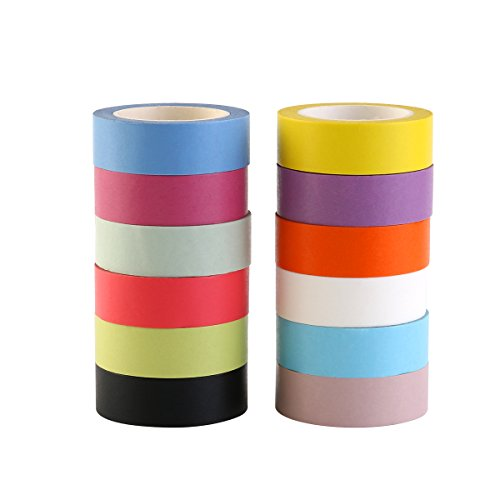 NUOLUX 12 Rotoli Washi Tape Decorativo Nastri Adesivi 15mm x 10m