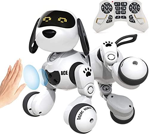 Cão Robô Brinquedos para Crianças de Controle Remoto sem fio Inteligente Programável RC Robô com o Gesto de Detecção,imita Animais Dog Pet Mini Robô,Andar,Falar,Cantar,Dançar,Presente Interativo