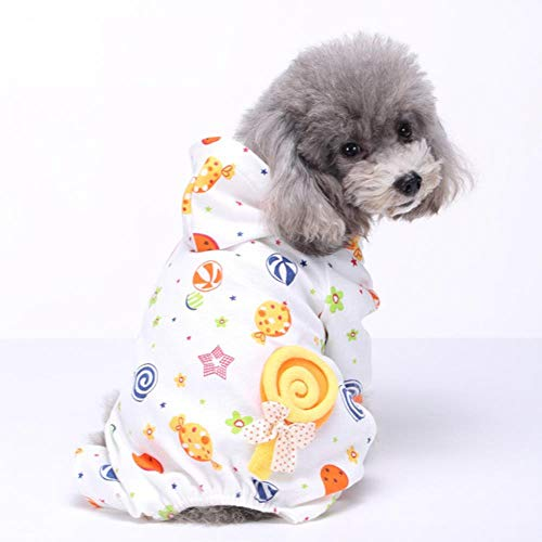 FHKGCD Haustier Hund Schlafkleidung Winter Warmer Overall Nachthemd Baumwollpyjama Für Kleinen Hund Mittlerer Hund Freizeit Jumpsuit, H, M.