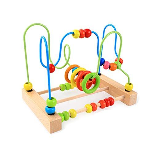 Juguete de laberinto de cuentas Juego educativo de laberinto de madera para niños en edad preescolar Roller Coaster Circle Toys Juego educativo de cuentas de ábaco para niños, niñas, regalo para bebés