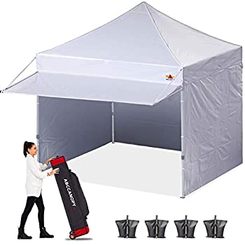 ABCCANOPY Ez Pop up Canopy Tent with Awning and Sidewalls 10x10 Market -Series White