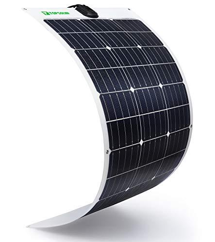 TP-solar Flexibel Solarmodul 100W 18V 12V Solarpanel Monokristallin Solarzelle Photovoltaik Solarladegerät Solaranlage mit Ladekabel für Wohnmobil Auto Boot 12V Batterien