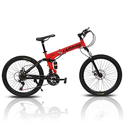 "PEXMOR 26"" Folding Mountain Bike, 21 Speed Mountain Bicycle Foldable with High Carbon Steel Frame & Double Disc Brake, Front Suspension Anti-Skid Shock-Absorbing Front Fork, Outdoor Adult Bike, Red"