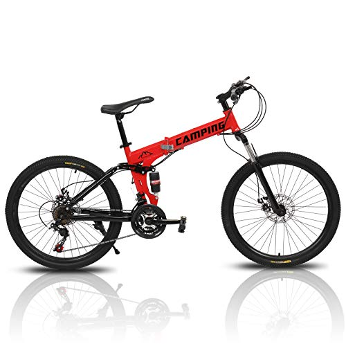 PEXMOR 26' Folding Mountain Bike, 21 Speed Mountain Bicycle Foldable with High Carbon Steel Frame &...