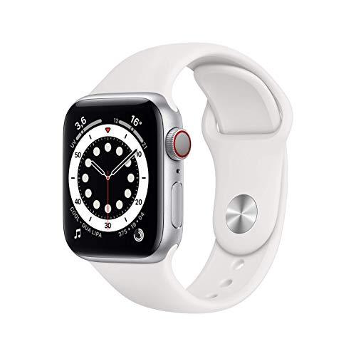AppleWatch Series6 (GPS+ Cellular, 40mm) Cassa in alluminio color argento con Cinturino Sport bianco