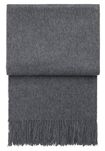 ELVANG Graue Alpaka Wolldecke mit Fransen, 140x200 cm, Decke, Wohndecke, Kuscheldecke, Schmusedecke