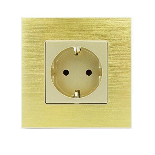 Luxus-Time Steckdose Gold mit Alu Rahmen