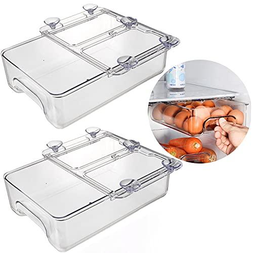 Baffect Paquete de 2 contenedores organizadores de refrigerador con asa, organizador de cajón de refrigerador extraíble transparente transparente, ventosa para refrigerador, estante (blanco)