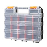 CASOMAN Double Side Tool Organizer with Impact Resistant Polymer and Customizable Removable Plastic Dividers, Hardware Box Storage, Excellent for Screws,Nuts,Small Parts, 34-Compartment, Black/Orange