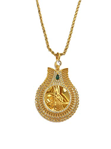 Remi Bijou Halskette 22K vergoldet 'Tulpe' mit Tugra Arabisch Islam Muslim Türkisch Lale