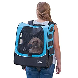 Pet Gear I-GO2 Roller Backpack, Travel Carrier, Car Seat for Cats/Dogs, Mesh Ventilation, Included Tether, Telescoping Handle, Storage Pouch, ocean blue, extra large plus traveler (PG1280OB)