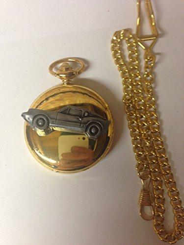 Saab Sonette 2 V4 ref218 auto stemma in peltro effetto lucido, colore: oro su una custodia regalo orologio da taschino al quarzo, made in sheffield