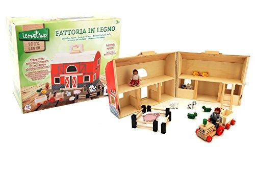 Globo Giocattoli Globo–37443Legnoland Farm House con Maniglia (Pezzi)