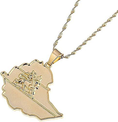 ZJJLWL Co.,ltd Collar Collar Color Dorado Bandera etíope león Mapa Colgante Collar para Mujeres Hombres Mapa Encanto joyería