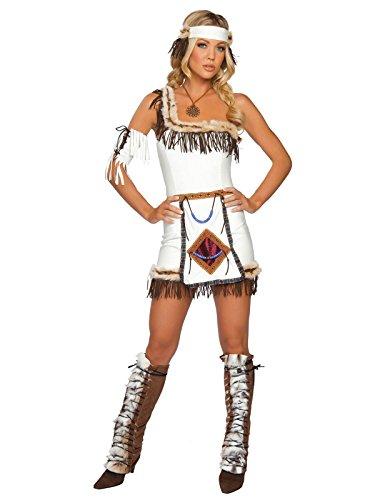 Indianerin Kostüm 5teilig - braun/weiß - M/L