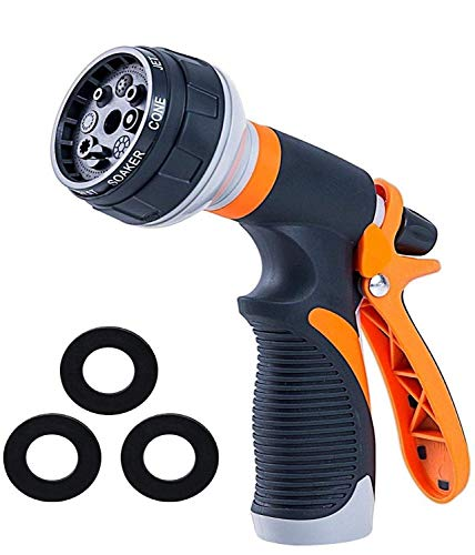 Garden Hose Nozzle   Hose Spray Nozzle   Water Hose Nozzle Sprayer   Heavy Duty 8 Adjustable Watering Patterns, Slip and Shock Resistant for Watering Plants, Cleaning, Car Wash and Showering Pets