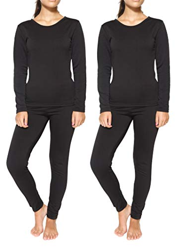 2 Pack: Womens Thermal Underwear Set Thermal Underwear for Women Fleece Lined Legging Long Johns Skiing Apparel-Set 5,L