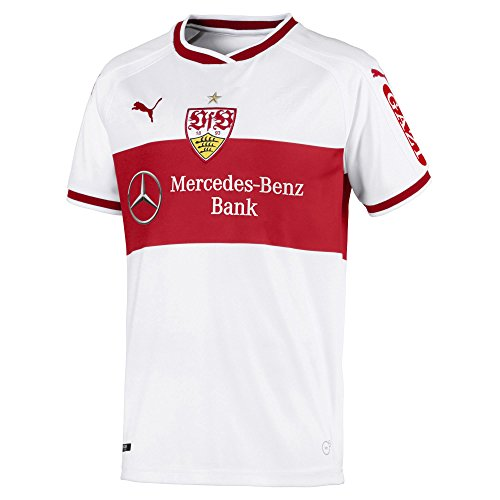 PUMA Kinder VfB Stuttgart Home Replica Shirt Jr w.Sponsor Trikot, White-Ribbon Red, 152