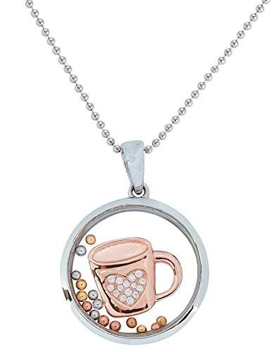 La taza de café - Collar con colgante de plata rodiada 925...