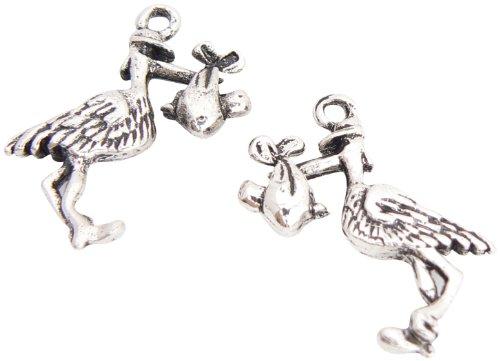Charms and Occasions Ltd - Colgante de cigüeña con bebé, chapado en plata