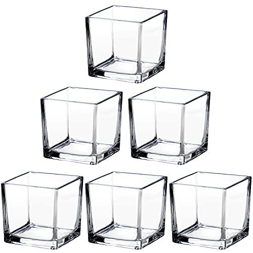 Lot de 6 vases carrés en verre transparent de 8 cm pour fleurs, cubes en cristal, décoration de maison, fête de mariage, pot de fleurs, terrarium